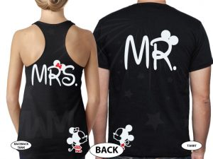 Mr and Mrs Disney Cute Couple Matching Shirts With Your Wedding Date And Kissing Mickey And Minnie married with mickey black tshirts