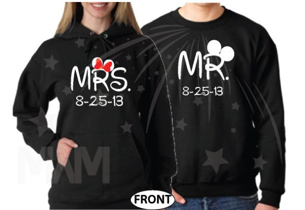 Cute Couple Shirts For Mr Mrs With Big Ears and Custom Wedding Date married with mickey mwm black sweaters