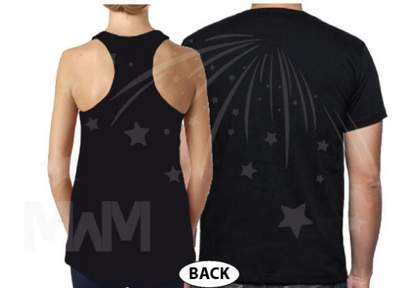 Cute Couple Shirts For Mr Mrs With Big Ears and Custom Wedding Date married with mickey mwm black ladies tank top and mens tshirt