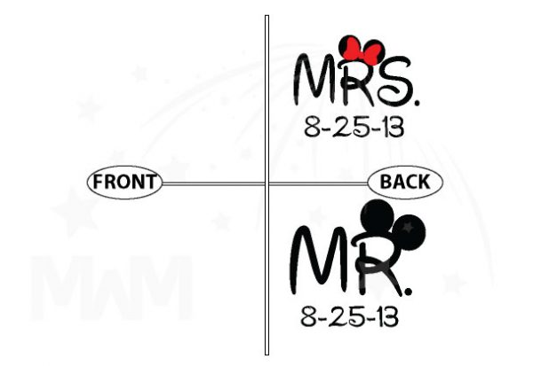 Cute Couple Shirts For Mr Mrs With Big Ears and Custom Wedding Date married with mickey mwm