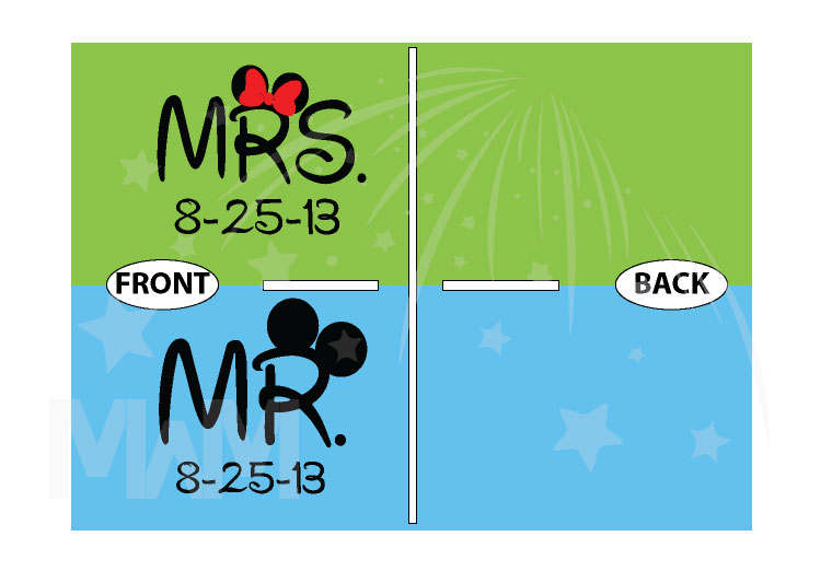 500101 Cute Couple Shirts For Mr Mrs With Big Ears and Custom Wedding Date married with mickey