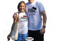 Cute Couple Shirts For Mr Mrs With Big Ears and Custom Wedding Date married with mickey mwm white tshirts