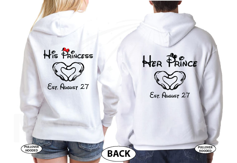 Cute She's Mine He's Mine Her Prince His Princess Mickey Hands Wedding Date married with mickey white hoodies
