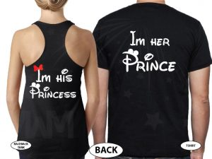 Cute I'm Her Prince I'm His Princess married with mickey black tshirts