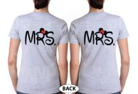 LGBT Lesbian Mrs With Little Minnie Mouse Cute Kiss Couple Shirts married with mickey mwm grey tshirts