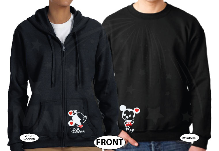 Cute His Hers Big Ears Mickey Minnie Mouse Head Polka Dot Bow married with mickey black hoodies