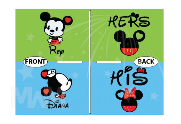 Cute His Hers Big Ears Mickey Minnie Mouse Head Polka Dot Bow married with mickey