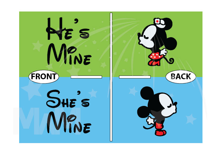 He's Mine She's Mine Little Mickey Minnie Mouse Kiss married with mickey