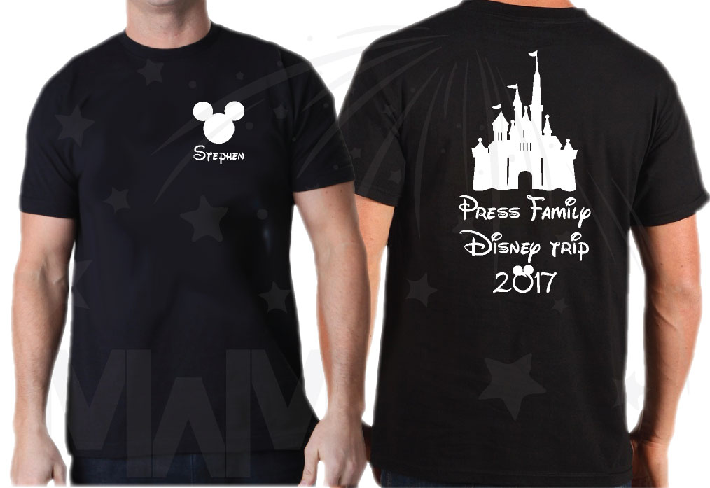 Matching Family Shirts, Last Name, Disney Trip 2017, Mickey Mouse Head with Custom Names married with mickey black tshirts