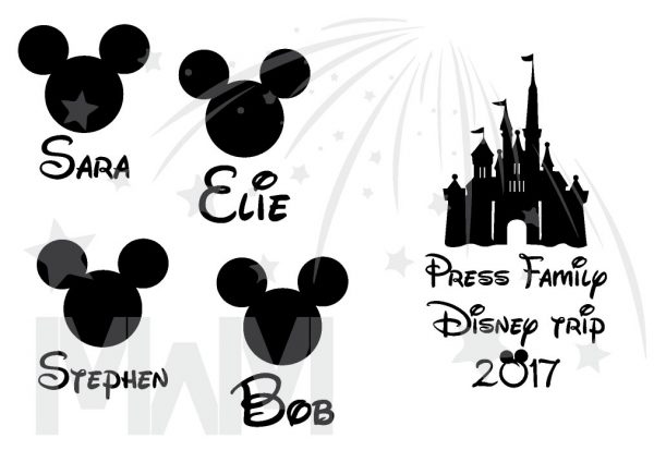 Matching Family Shirts, Last Name, Disney Trip 2017, Mickey Mouse Head with Custom Names married with mickey
