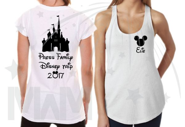 Matching Family Shirts, Last Name, Disney Trip 2017, Mickey Mouse Head with Custom Names married with mickey white ladies tank top, ladies tshirt