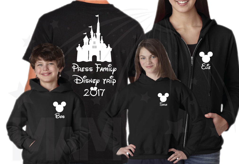 Matching Family Shirts, Last Name, Disney Trip 2017, Mickey Mouse Head with Custom Names married with mickey black mens tshirt, zip up hoodies, hoodie pullover