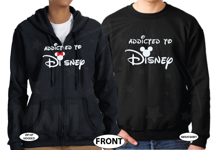 Addicted To Disney I'm Her Prince I'm His Princess Disney Castle Wedding Date Minnie Bow Mickey Head married with mickey black hoodies