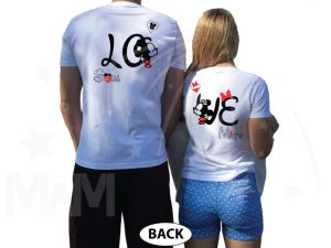 Disney LoVe SoulMate Matching Couple Shirts With Mickey Minnie Kissing married with mickey white tshirts