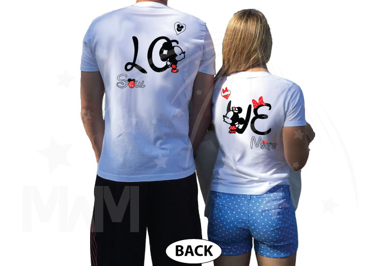 Disney LoVe SoulMate Matching Couple Shirts With Mickey Minnie Kissing For Mr and Mrs married with mickey white tshirts