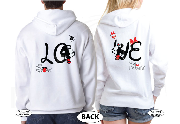 Disney LoVe SoulMate Matching Couple Shirts With Mickey Minnie Kissing For Mr and Mrs married with mickey white hoodies