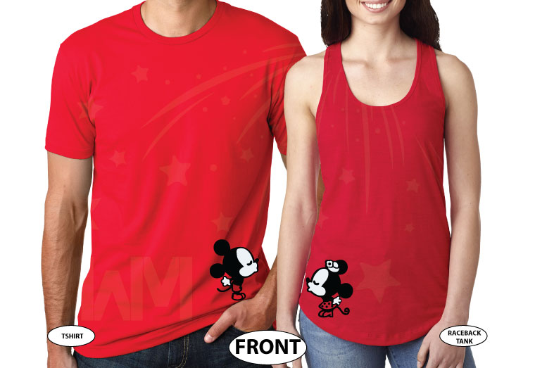 Disney LoVe SoulMate Matching Couple Shirts With Mickey Minnie Kissing married with mickey mwm red tee and tank