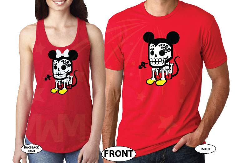 Mickey Minnie Mouse Robot Style Cool Shirts For Awesome Couple married with mickey mwm red tee and tank