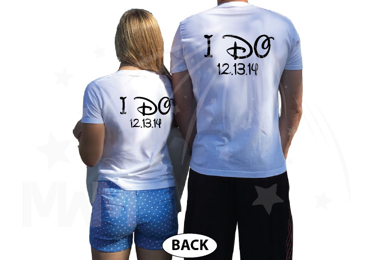 Mr Mrs I Do Wedding Date and Custom Names married with mickey white tshirts