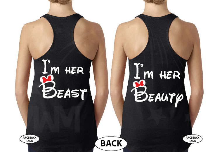 LGBT Lesbian I'm Her Beast I'm Her Beauty Matching Shirts married with mickey black tanks