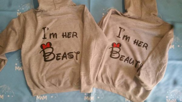 LGBT Lesbian I'm Her Beast I'm Her Beauty Matching Shirts married with mickey grey hoodies