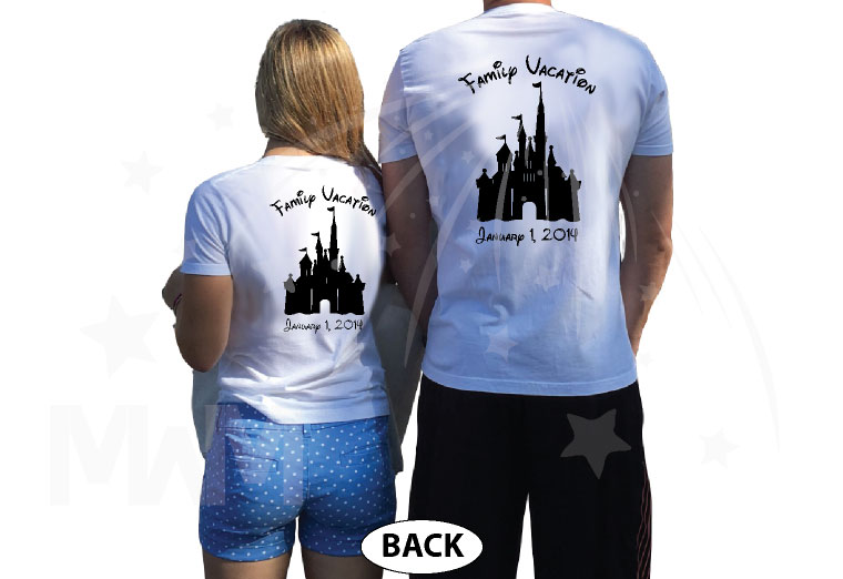 Mickey Minnie Mouse Head With Names Disney Cinderella Castle With Custom Date married with mickey white tshirts