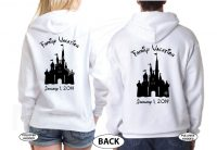 Mickey Minnie Mouse Head With Names Disney Cinderella Castle With Custom Date married with mickey white hoodies