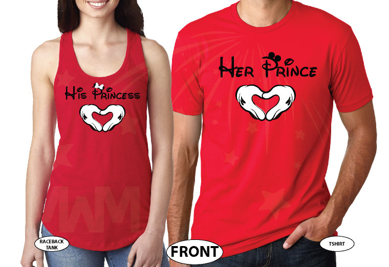 Her Prince His Princess Mickey's Hands Heart Shape Custom Wedding Date married with mickey red tee and tank