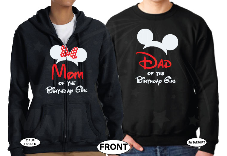Dad and Mom Of Birthday Boy (Girl) married with mickey black hoodies