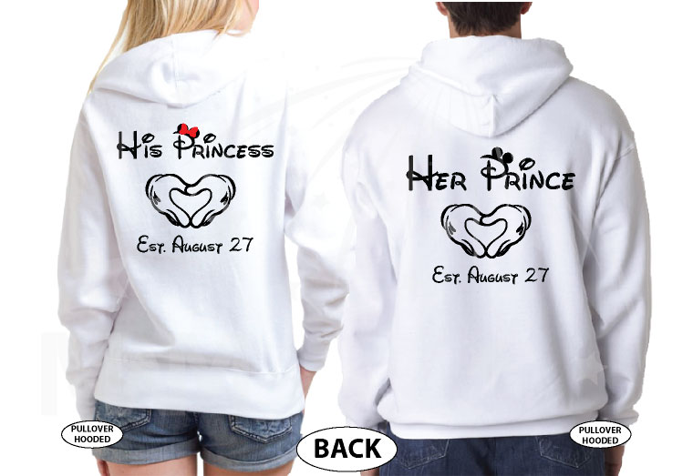 Her Prince His Princess Little Mickey Minnie Mouse Kiss Mickey's Hands In Heart Shape Wedding Date married with mickey white hoodies