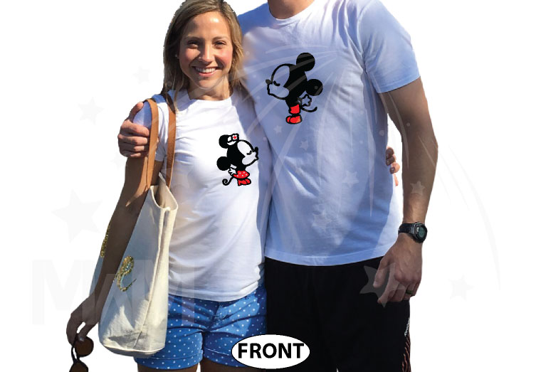 Her Prince His Princess Little Mickey Minnie Mouse Kiss Mickey's Hands In Heart Shape Wedding Date married with mickey white tshirts
