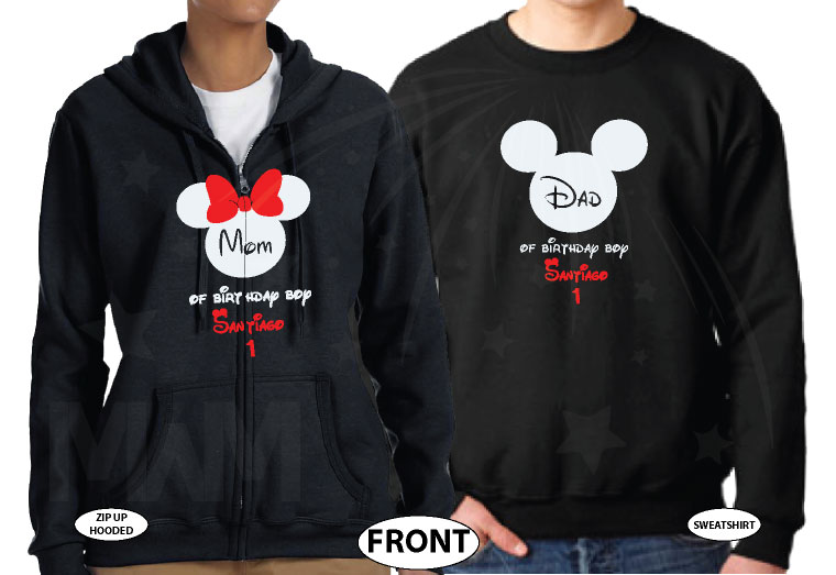 Dad and Mom Of Birthday Boy (Girl) With Child's Name and Age married with mickey black hoodies
