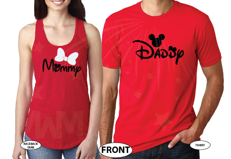 Daddy and Mommy Disney Family Shirts married with mickey red tank and tee