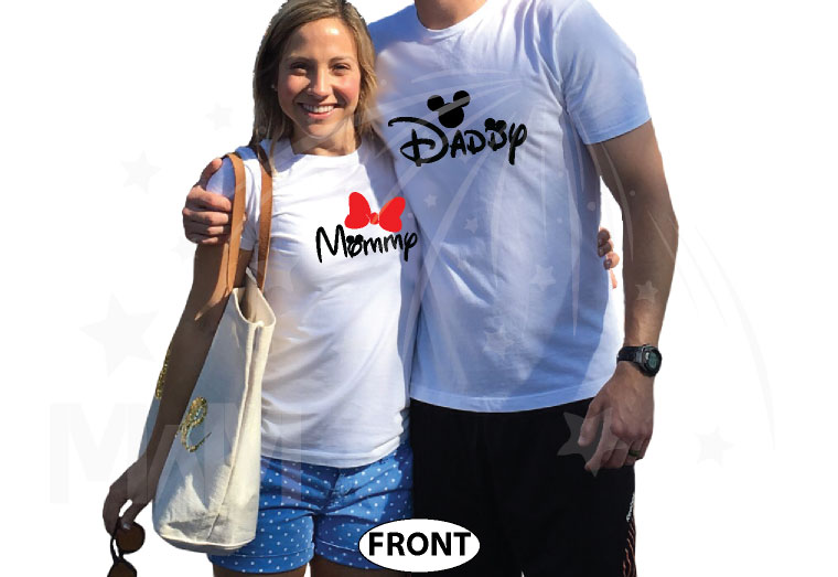 Daddy and Mommy Disney Family Shirts married with mickey white tshirts