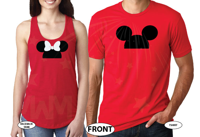 Cute Matching Married Couple Shirts For Mr Mrs Mickey Mouse Head Minnie Mouse Head married with mickey red tees