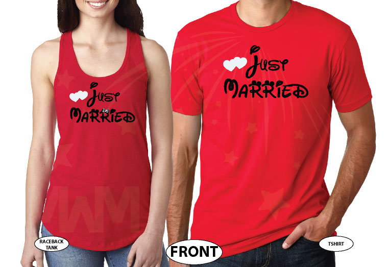 Just Married Mr Mrs With Custom Last Name married with mickey red tank and tee