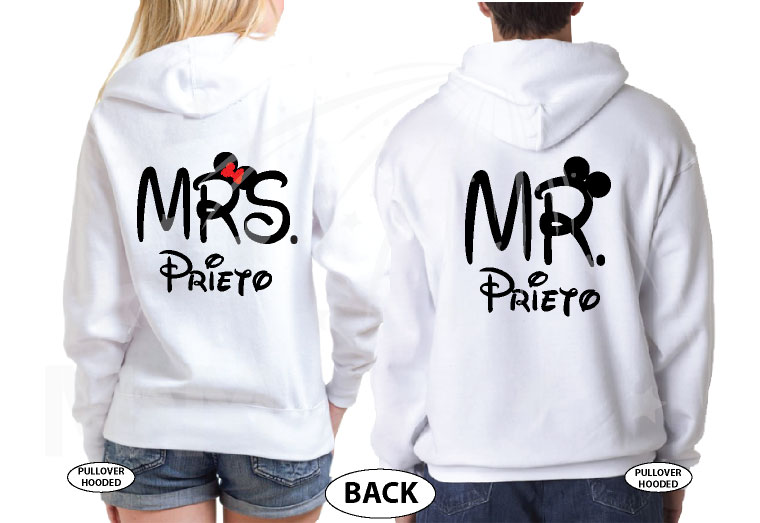 Just Married Mr Mrs With Custom Last Name married with mickey white hoodies