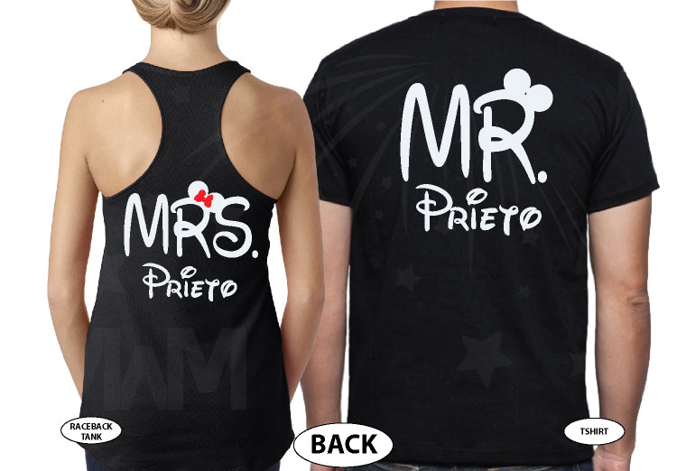 Just Married Mr Mrs With Custom Last Name married with mickey black tank and tee