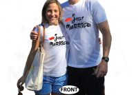 Just Married Mr Mrs With Custom Last Name married with mickey white tshirts