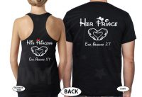 Mrs Mr His Princess Her Prince With Wedding Date Mickey's Hands In Heart Shape married with mickey mwm black tank and tshirt