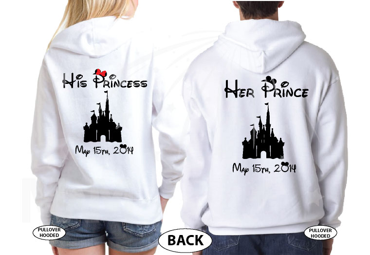 Her Prince His Princess Disney Cinderella Castle Custom Date Minnie Bow Mickey Head married with mickey white hoodies