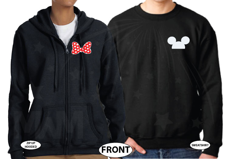 Her Prince His Princess Disney Cinderella Castle Custom Date Minnie Bow Mickey Head married with mickey black hoodies