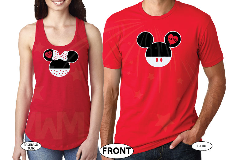 His Hers Mickey Minnie Mouse Head With Custom Names Or Date In Ears married with mickey red tee and tank