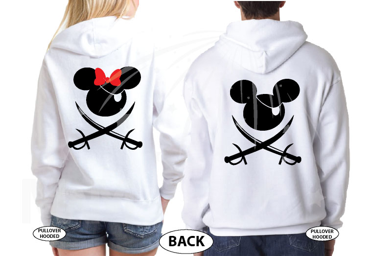 Mickey Minnie Mouse Cute Pirate Couple Shirts Hubby Wifey married with mickey white hoodies