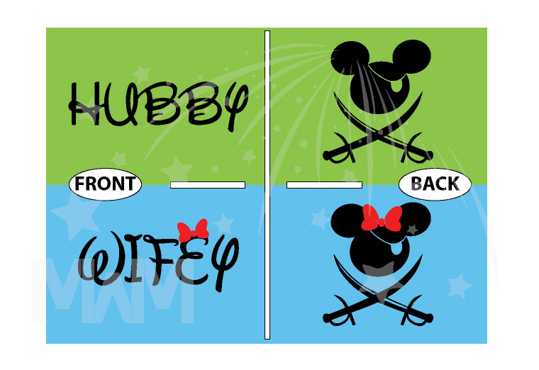Mickey Minnie Mouse Cute Pirate Couple Shirts Hubby Wifey married with mickey