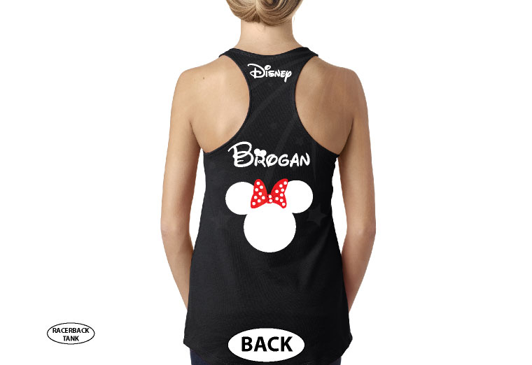 Disney Minnie Mouse Red Polka Dot Cute Bow Shirt With Custom Name married with mickey black tank top