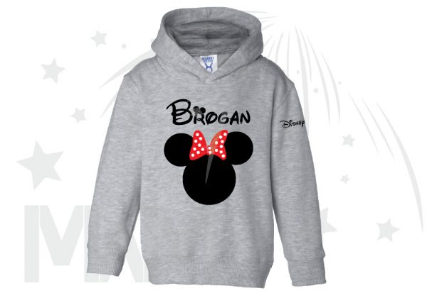 Disney Minnie Mouse Red Polka Dot Cute Bow Or Mickey Mouse Head Shirt With Custom Name married with mickey grey sweater