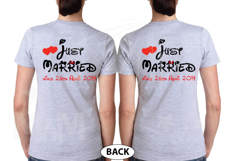 LGBT Lesbians Couple Very Cute Shirts For Mrs Just Married With Wedding Date married with mickey mwm grey tshirts