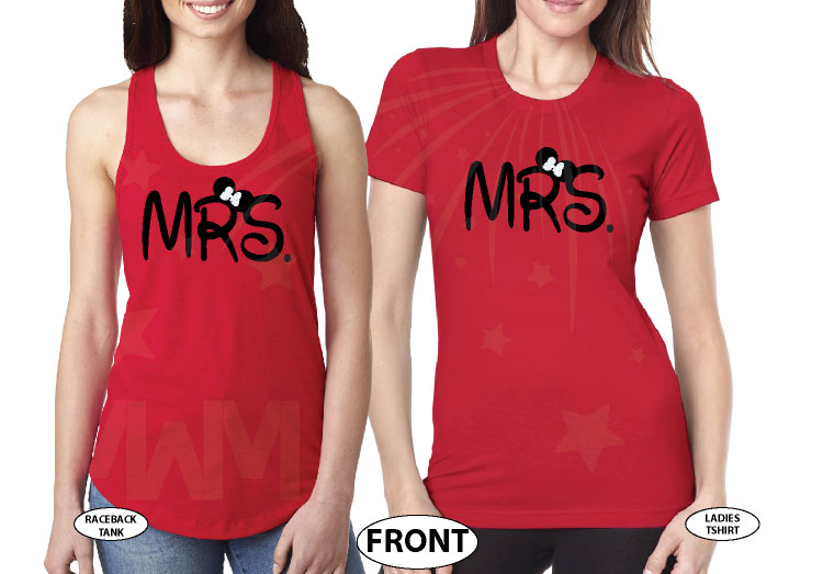 LGBT Lesbians Couple Very Cute Shirts For Mrs Just Married With Wedding Date married with mickey mwm red tank tops