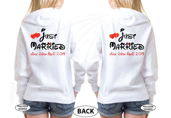 LGBT Lesbians Couple Very Cute Shirts For Mrs Just Married With Wedding Date married with mickey mwm white sweaters